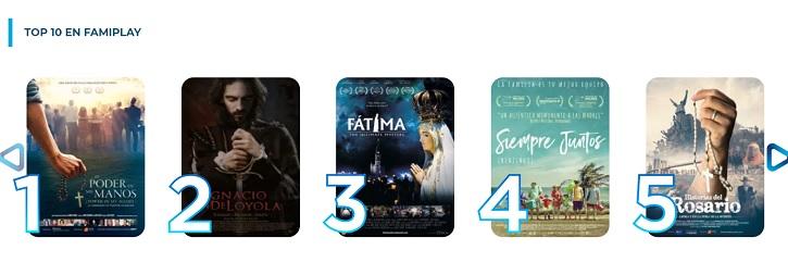 Muestrario de algunas de las películas en catálogo | Apariencia de la página web Famiplay | La primera edición de los premios 'Famiplay' promueve el cine con valores