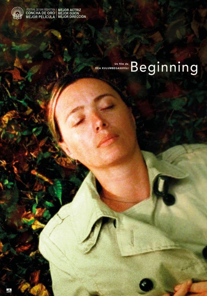 Cartel promocional del filme | Entrevista aDea Kulumbegashvili: Concha de Oro por 'Beginning'