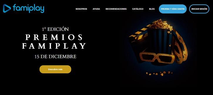 Menú de la interfaz   Interfaz de la web   La I Edición de los Premios de cine Famiplay presenta a sus protagonistas